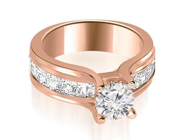 2.00 cttw. Channel Round and Princess Cut Diamond Engagement Ring in 18K Rose Gold