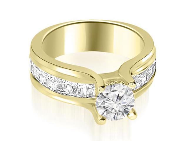 2.00 cttw. Channel Round and Princess Cut Diamond Engagement Ring in 18K Yellow Gold