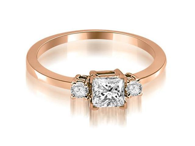 0.55 cttw. Princess Cut Diamond Engagement Ring in 18K Rose Gold