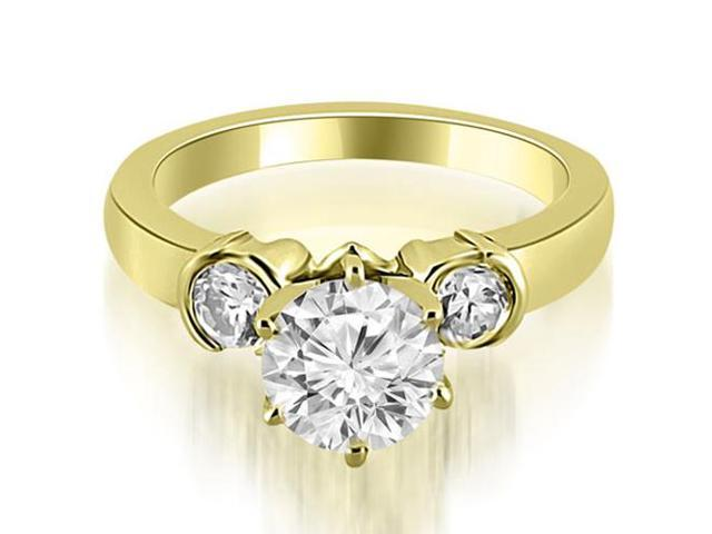 1.50 cttw. Half Bezel Round Cut Diamond Engagement Ring in 14K Yellow Gold