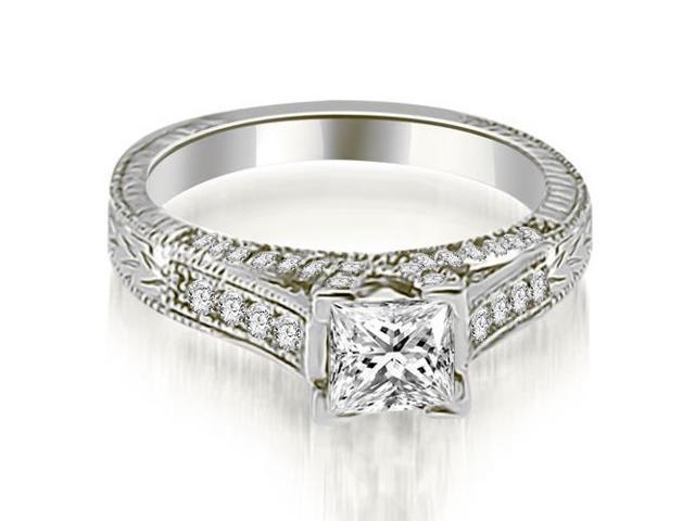 0.75 cttw. Antique Princess Cut Diamond Engagement Ring in Platinum