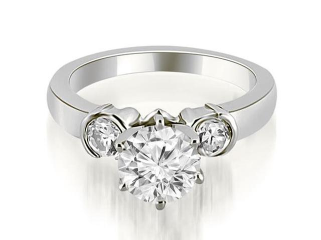 1.25 cttw. Half Bezel Round Cut Diamond Engagement Ring in Platinum