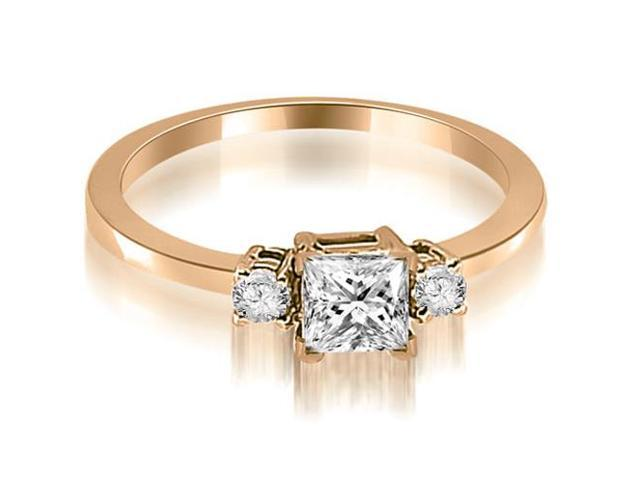 0.55 cttw. Princess Cut Diamond Engagement Ring in 14K Rose Gold