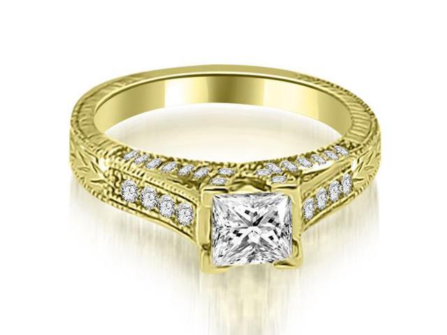 0.90 cttw. Antique Princess Cut Diamond Engagement Ring in 14K Yellow Gold