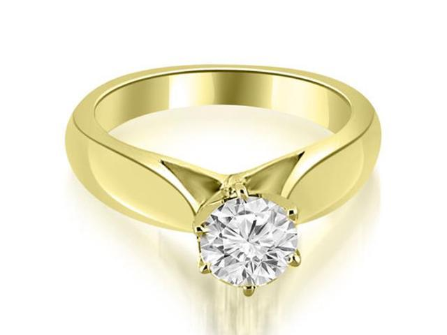0.75 cttw. Cathedral Solitaire Diamond Engagement Ring in 14K Yellow Gold