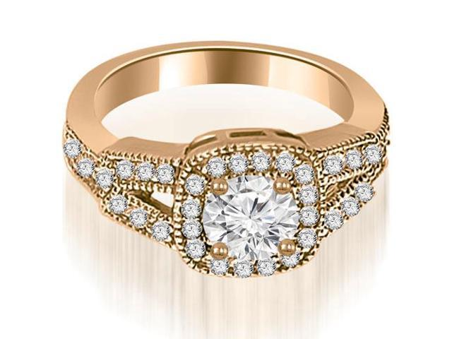 1.35 cttw. Antique Round Cut Diamond Engagement Ring in 14K Rose Gold