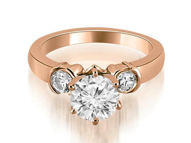 1.00 cttw. Half Bezel Round Cut Diamond Engagement Ring in 18K Rose Gold