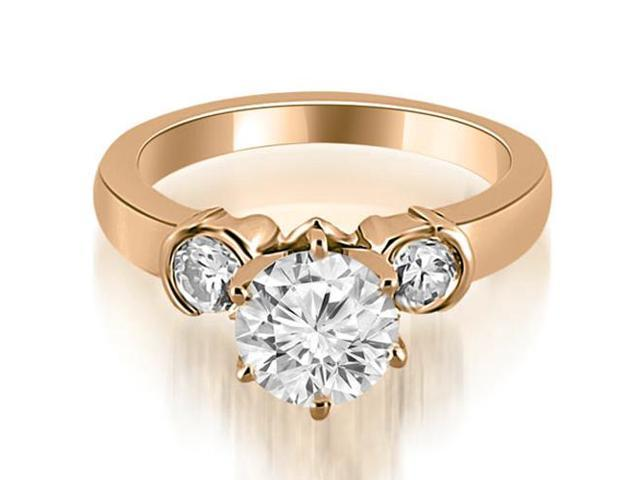 0.85 cttw. Half Bezel Round Cut Diamond Engagement Ring in 14K Rose Gold