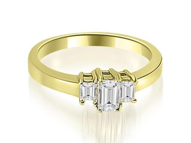 1.00 cttw. Three Stone Emerald Cut Diamond Ring in 14K Yellow Gold