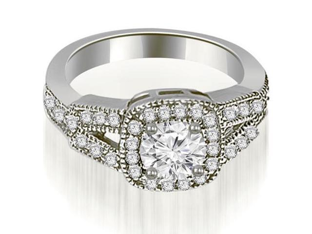 1.35 cttw. Antique Round Cut Diamond Engagement Ring in 14K White Gold