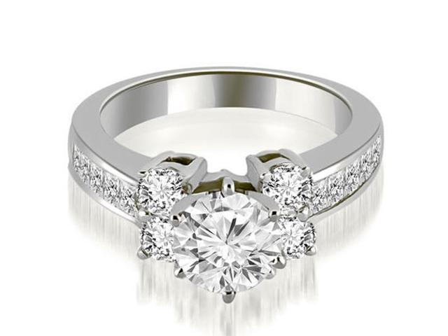 1.50 cttw. Channel Round Cut Diamond Engagement Ring in 14K White Gold