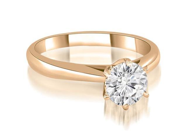 1.00 cttw. Cathedral 6-Prong Round Cut Diamond Engagement Ring in 14K Rose Gold