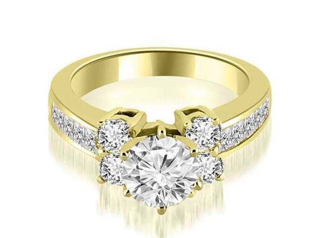 1.75 cttw. Channel Round Cut Diamond Engagement Ring in 14K Yellow Gold