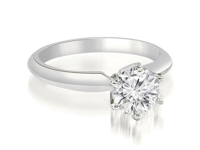 0.75 cttw. Knife Edge Solitaire Round Diamond Engagement Ring in Platinum