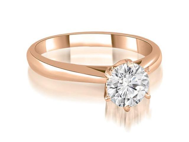 0.75 cttw. Cathedral 6-Prong Round Cut Diamond Engagement Ring in 18K Rose Gold