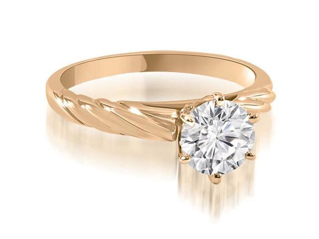 0.75 cttw. Twist Style 6-Prong Solitaire Diamond Engagement Ring in 14K Rose Gold