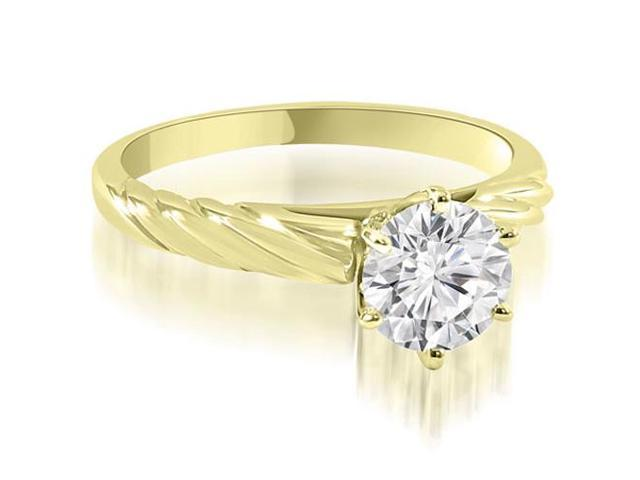 0.35 cttw. Twist Style 6-Prong Solitaire Diamond Engagement Ring in 18K Yellow Gold