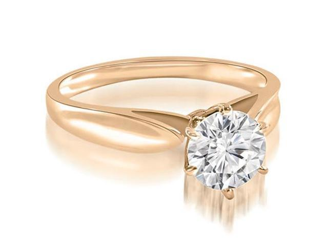1.00 cttw. Cathedral Solitaire Round Cut Diamond Engagement Ring in 14K Rose Gold