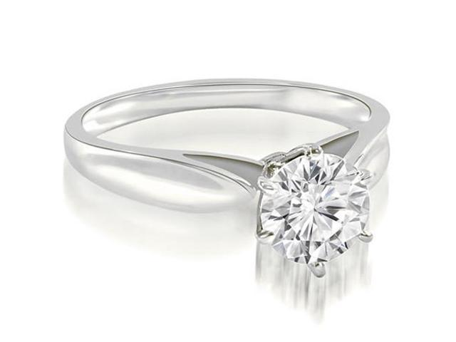 0.75 cttw. Cathedral Solitaire Round Cut Diamond Engagement Ring in 18K White Gold