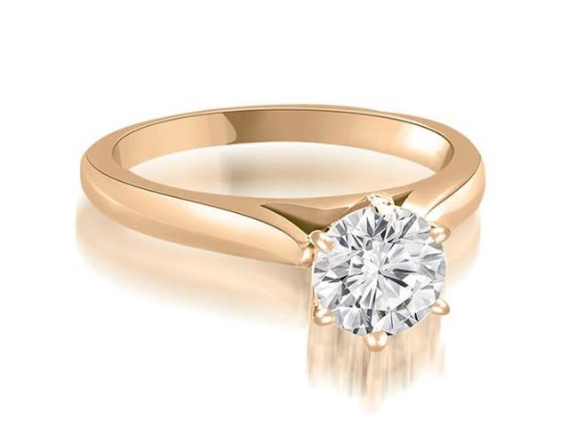 0.75 cttw. Cathedral 6-Prong Round Cut Diamond Engagement Ring in 14K Rose Gold
