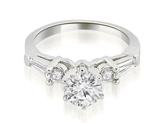 1.35 cttw. Baguette and Round Diamond Engagement Ring in Platinum