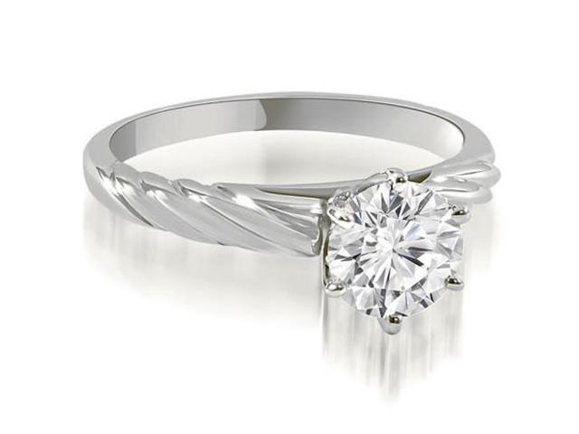 0.75 cttw. Twist Style 6-Prong Solitaire Diamond Engagement Ring in 14K White Gold