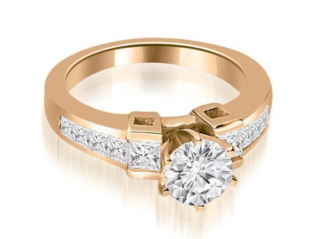 1.20 cttw. Channel Set Diamond Princess and Round Cut Engagement Ring in 14K Rose Gold