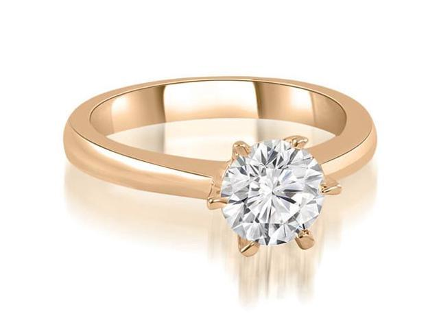 1.00 cttw. 6-Prong Solitaire Round Cut Diamond Engagement Ring in 14K Rose Gold