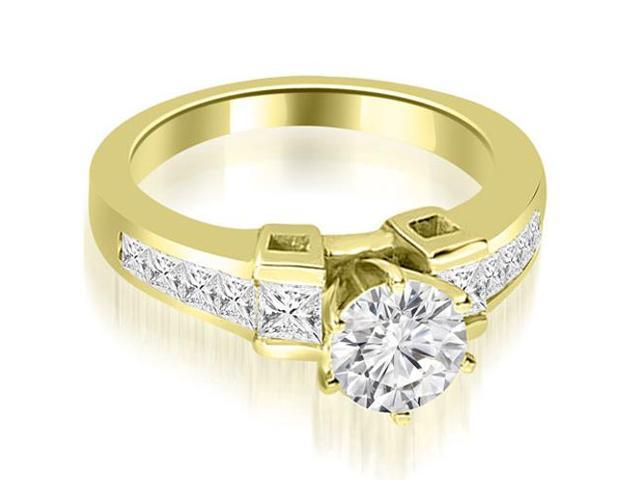 1.50 cttw. Channel Set Diamond Princess and Round Cut Engagement Ring in 14K Yellow Gold