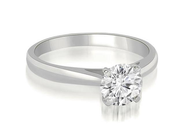 0.75 cttw. Cathedral Solitaire Round Cut Diamond Engagement Ring in 14K White Gold
