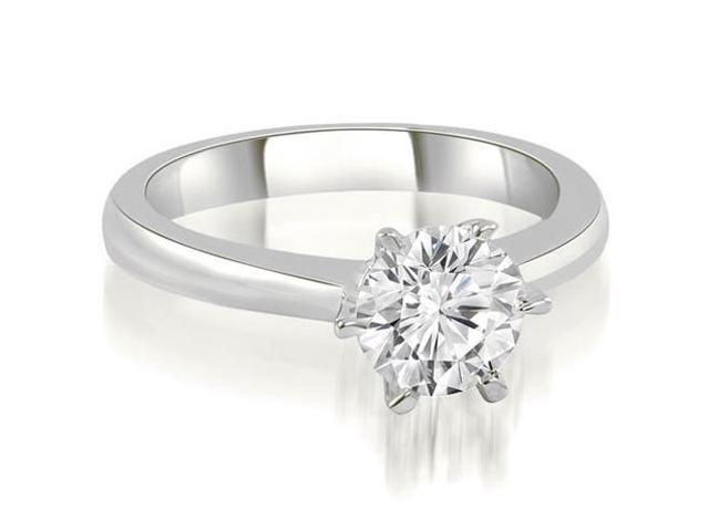 0.75 cttw. 6-Prong Solitaire Round Cut Diamond Engagement Ring in 18K White Gold
