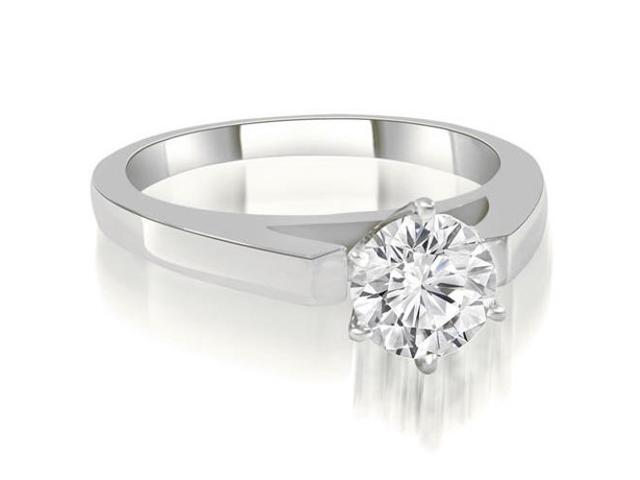 0.75 cttw. Cathedral Solitaire Round Diamond Engagement Ring in 18K White Gold