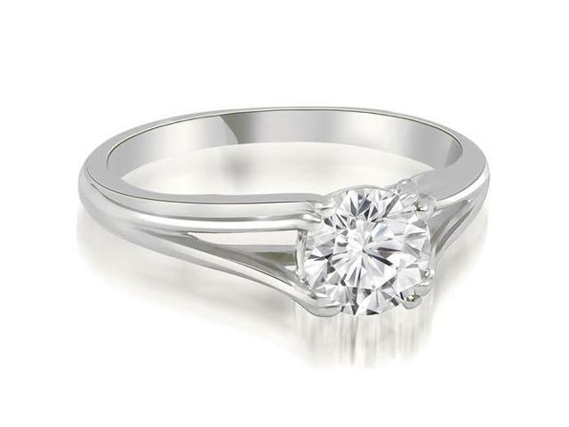0.75 cttw. Elegant Split-Shank Solitaire Diamond Engagement Ring in 18K White Gold