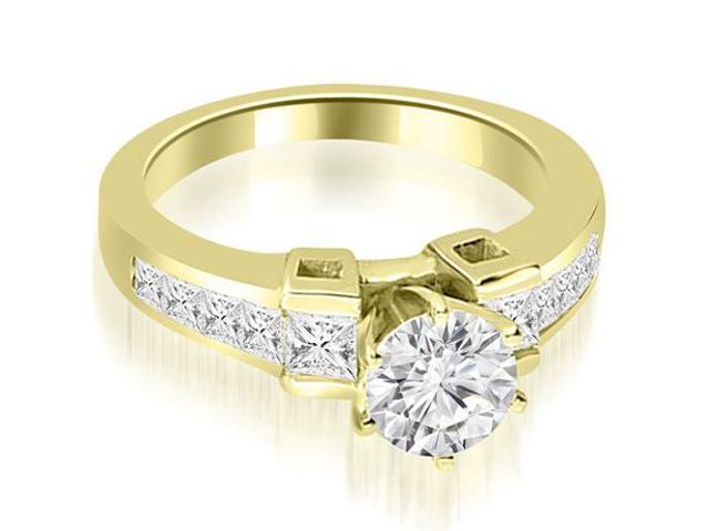 1.75 cttw. Channel Set Diamond Princess and Round Cut Engagement Ring in 18K Yellow Gold