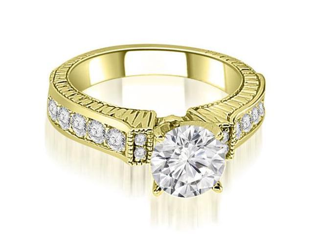 1.30 cttw. Antique Round Cut Diamond Engagement Ring  in 14K Yellow Gold