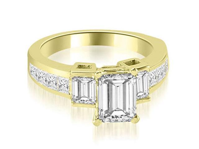 1.85 cttw. Channel Set Diamond Princess and Emerald Cut Engagement Ring in 18K Yellow Gold