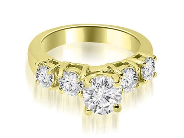 0.95 cttw. Prong Set Round Cut Diamond Engagement Ring in 14K Yellow Gold