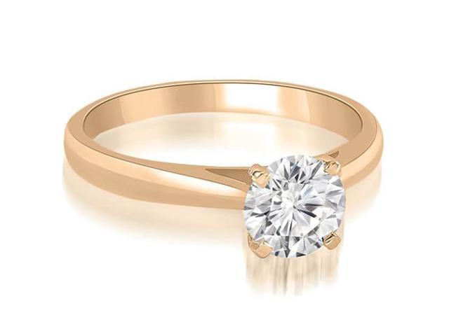 0.75 cttw. Cathedral Solitaire Round Cut Diamond Engagement Ring in 14K Rose Gold