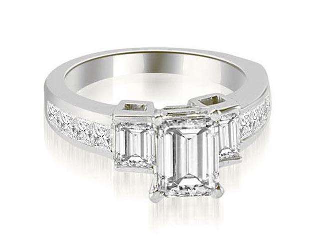2.40 cttw. Channel Set Diamond Princess and Emerald Cut Engagement Ring in Platinum
