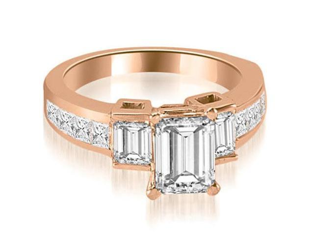 1.90 cttw. Channel Set Diamond Princess and Emerald Cut Engagement Ring in 18K Rose Gold