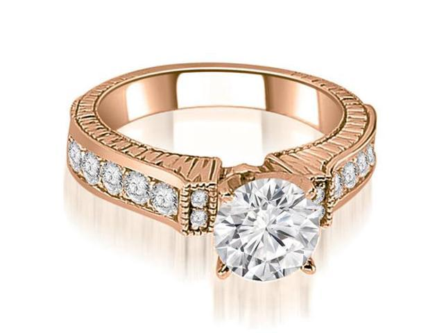 1.55 cttw. Antique Round Cut Diamond Engagement Ring  in 18K Rose Gold
