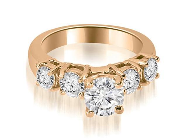 1.45 cttw. Prong Set Round Cut Diamond Engagement Ring in 14K Rose Gold