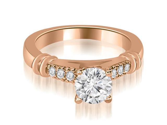 0.90 cttw. Round Cut Diamond Engagement Ring in 18K Rose Gold