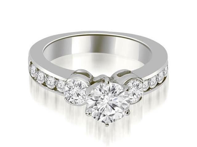1.90 cttw. Bezel Set Round Cut Diamond Engagement Ring in 18K White Gold