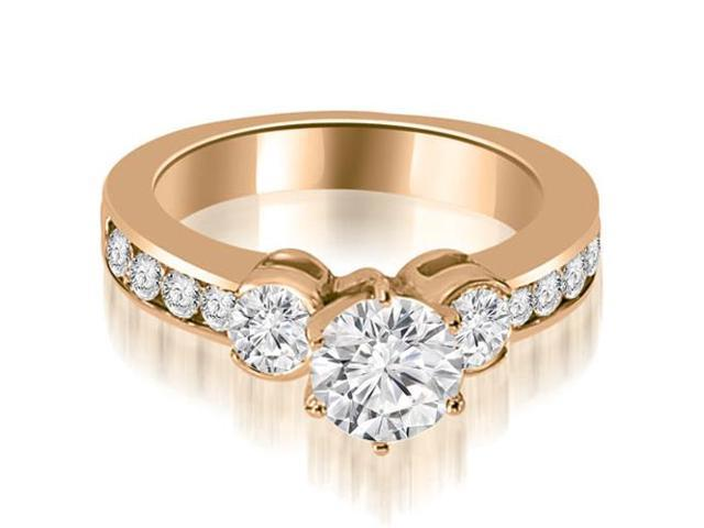 1.25 cttw. Bezel Set Round Cut Diamond Engagement Ring in 14K Rose Gold