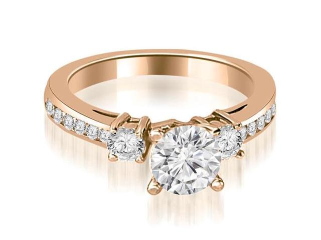 0.95 cttw. Round Cut Diamond Engagement Ring in 14K Rose Gold