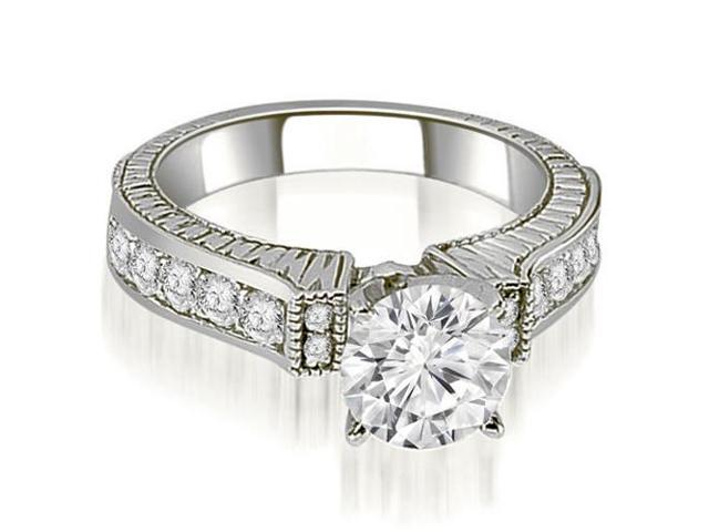 1.05 cttw. Antique Round Cut Diamond Engagement Ring  in 14K White Gold