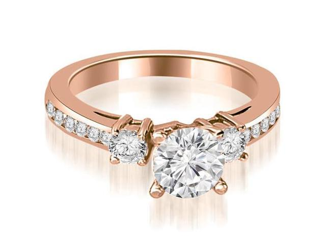 0.95 cttw. Round Cut Diamond Engagement Ring in 18K Rose Gold