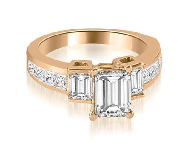 1.90 cttw. Channel Set Diamond Princess and Emerald Cut Engagement Ring in 14K Rose Gold