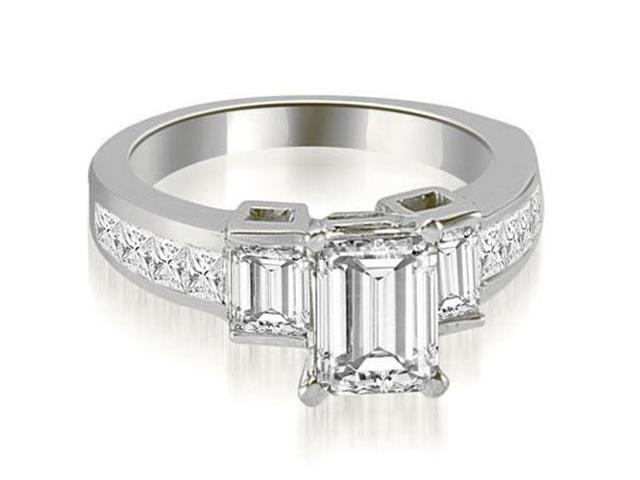 1.85 cttw. Channel Set Diamond Princess and Emerald Cut Engagement Ring in 14K White Gold